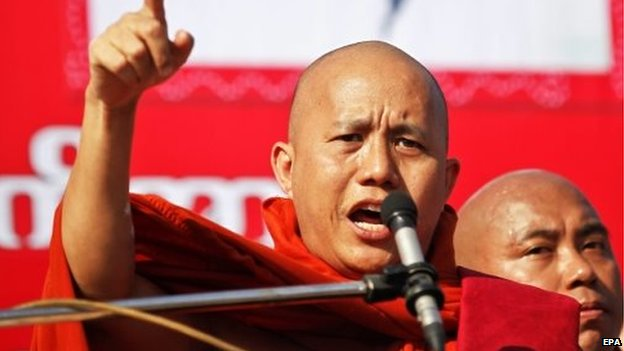 Ashin Wirathu at a rally against the UN in Yangon (16 Jan 2015)