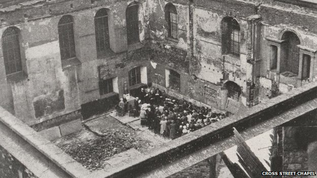 Cross Street Chapel with bomb damage in 1940