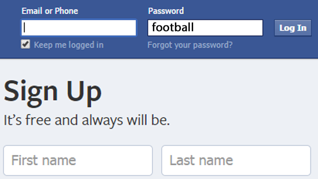 The word football is used to login in to Facebook