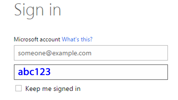 The phrase abc123 is used to login to a Hotmail account