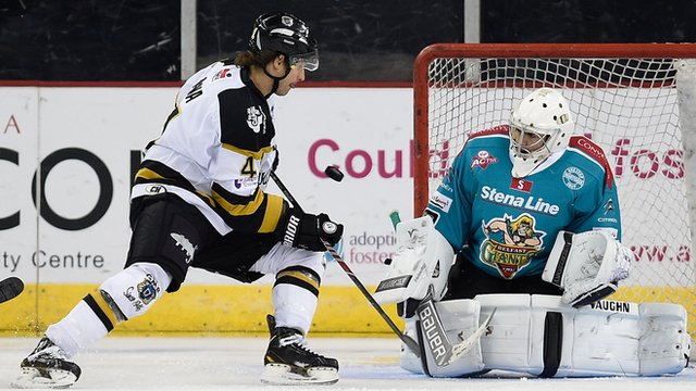 Belfast Giants netminder Carsen Chubak in action against the Nottingham Panthers