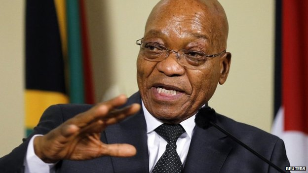 "South Africa""s President Jacob Zuma gestures during a media briefing with Palestinian President Mahmoud Abbas (not pictured) at the Union Building in Pretoria November 26, 2014"