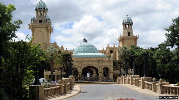 This picture taken on February 22, 2010 shows the Palace hotel of Lost City in Sun City