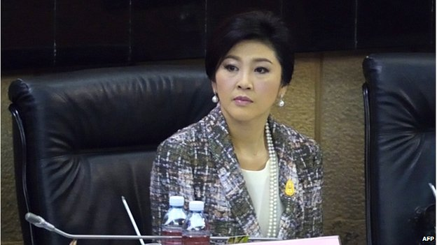 Ousted Thai prime minister Yingluck Shinawatra looks on as she faces impeachment proceedings by the military-stacked National Legislative Assembly (NLA) at the parliament in Bangkok on 22 January 2015