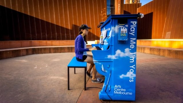 Woman playing piano in Melbourne