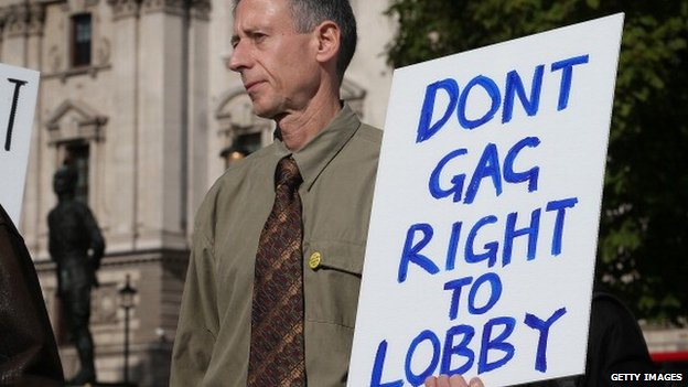 Peter Tatchell attends a freedom of speech demonstration in Parliament Square ahead of a vote on the Transparency of Lobbying, Non-party Campaigning and Trade Union Act