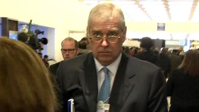 Prince Andrew arrives in Davos