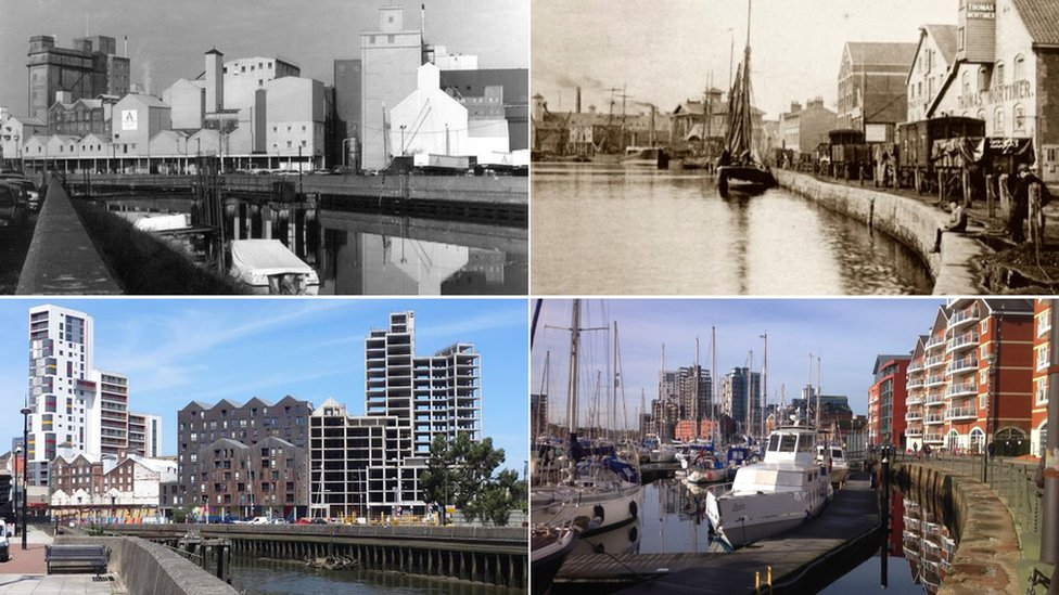 Ipswich waterfront throughout the years