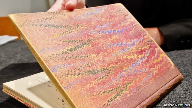1942 marbled cover of private notebook belonging to mathematician Alan Turing