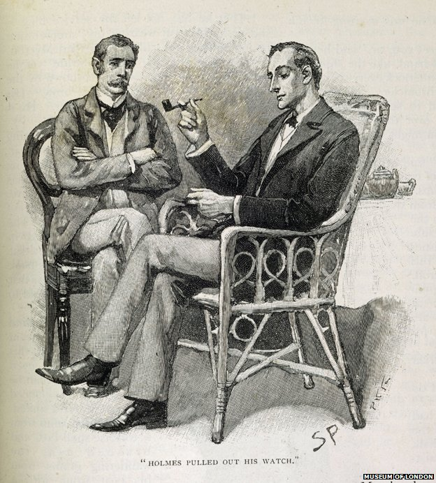 Sydney Paget illustration of Sherlock Holmes (with straight pipe) from The Strand magazine