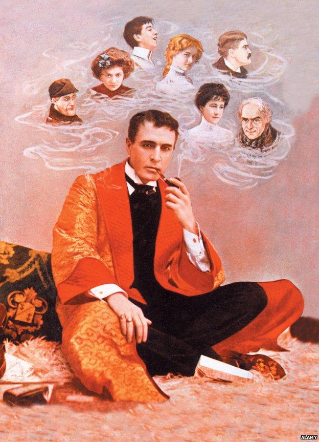 Illustration of William Gillette as Sherlock Holmes