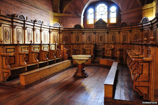 Inside one of Chiloe's wooden churches