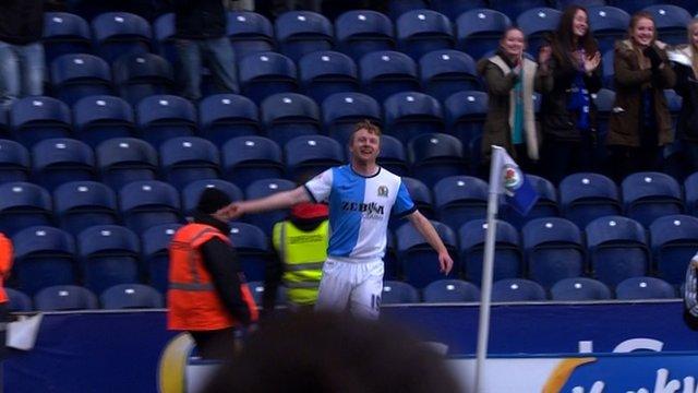 Chris Taylor equalises for Blackburn.