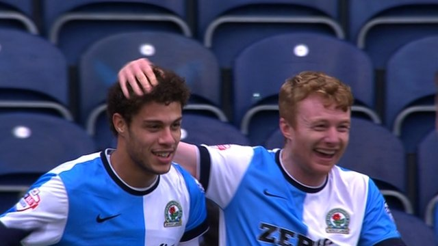 Rudi Gestede gives Blackburn Rovers the lead against Swansea.