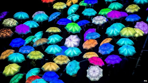 Lit up brollies at the Green Capital launch