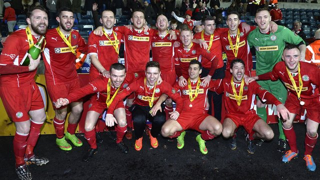 Cliftonville won the League Cup for a third year in a row