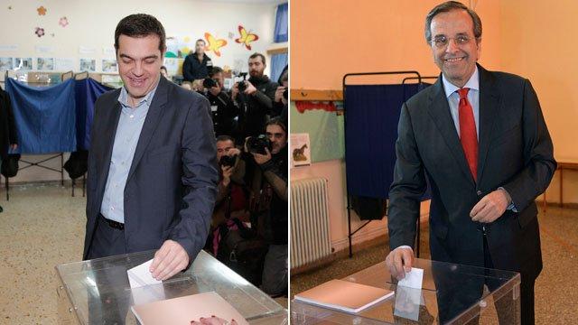 Alexis Tsipras and Antonis Samaras voting