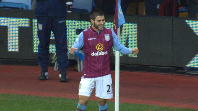Carles Gil celebrates after scoring for Aston Villa