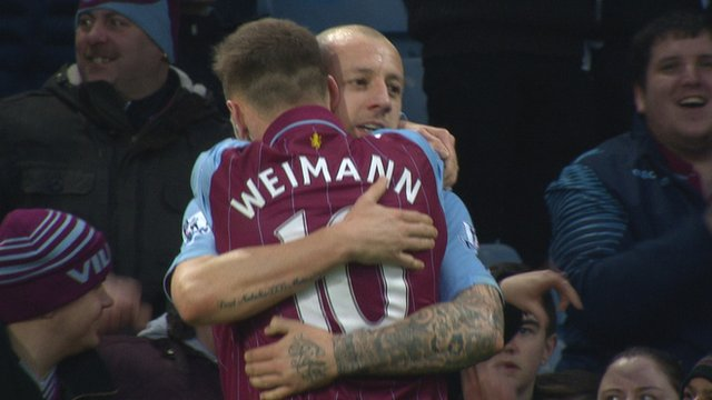Andreas Weimann celebrates after scoring for Aston Villa