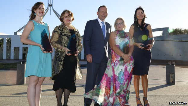Australian Prime Minister Tony Abbot with the 2015 Australian of the Year winners