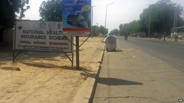 A near deserted street after a curfew was placed in the city of Maiduguri (25 January 2015)