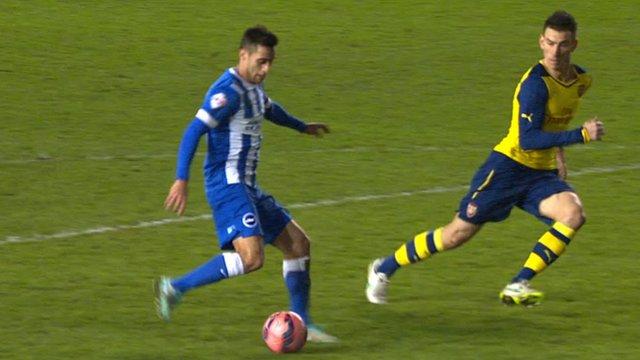 Sam Baldock scores for Brighton against Arsenal