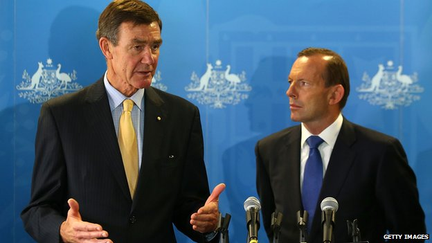 Defence Force Chief Angus Houston (L) with PM Tony Abbott in March 2014