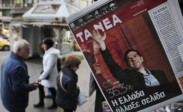 Newspaper shows Alexis Tsipras in Athens