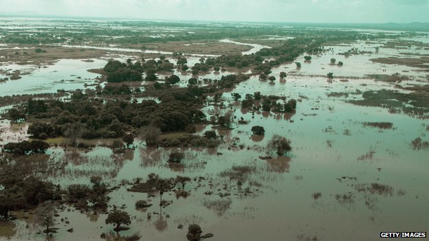Flooded area is seen at Makhanga in Malawi's most southern district of Nsanje
