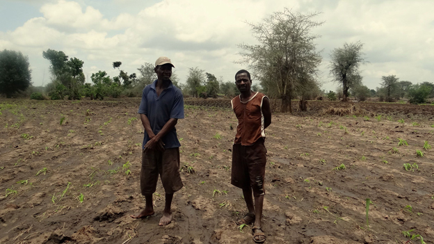 Two farmers stand in flood-damaged field