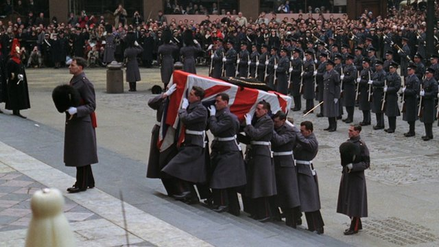 The pallbearers on the steps of St Paul's Cathedral