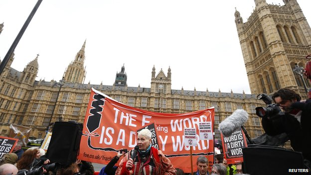 Fashion designer Vivienne Westwood protesting against fracking outside the Houses of Parliament