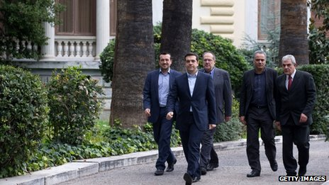 Syriza party leader Alexis Tsipras (2nd left)