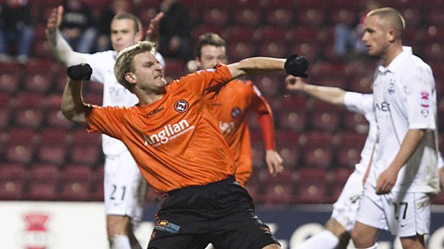 Christian Kalvenes punches the air after firing Dundee Utd in front at Tynecastle