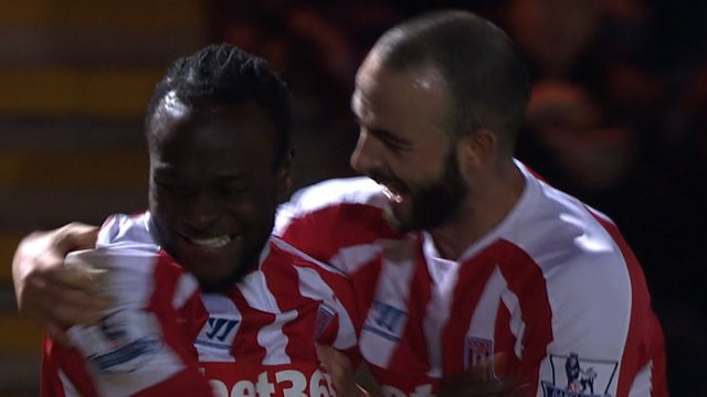 Victor Moses celebrates Stoke's third goal