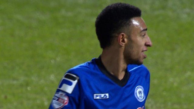 Rhys Bennett pulls one back for Rochdale against Stoke