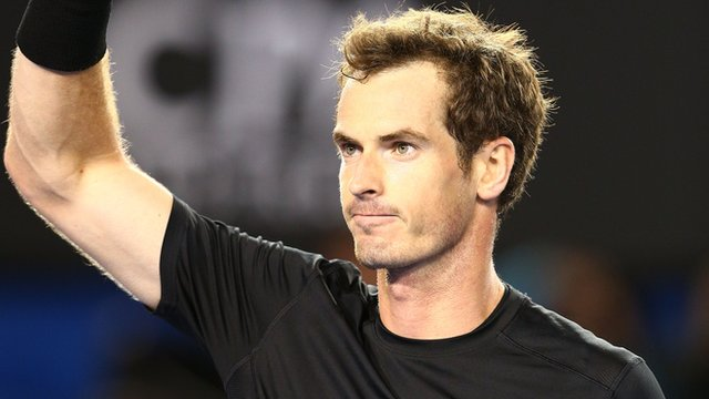 Andy Murray waves to the crowd at the Australian Open