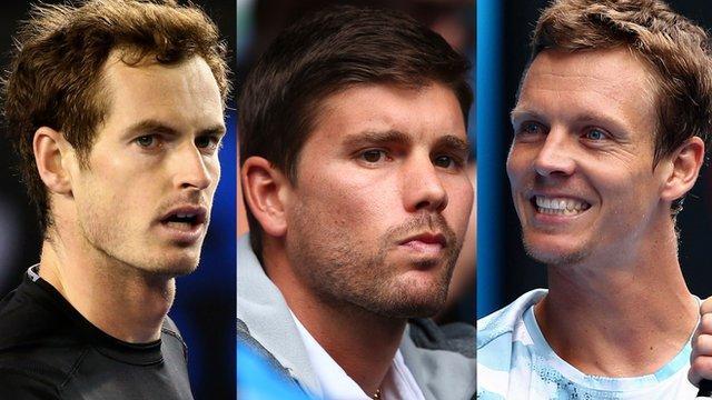 Andy Murray, Dani Vallverdu and Tomas Berdych