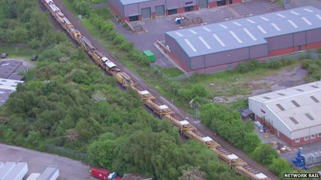 Aerial shot of ballast cleaner train