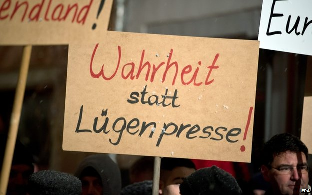 Placard at Pegida protest in Villingen-Schwenningen (26 Jan)