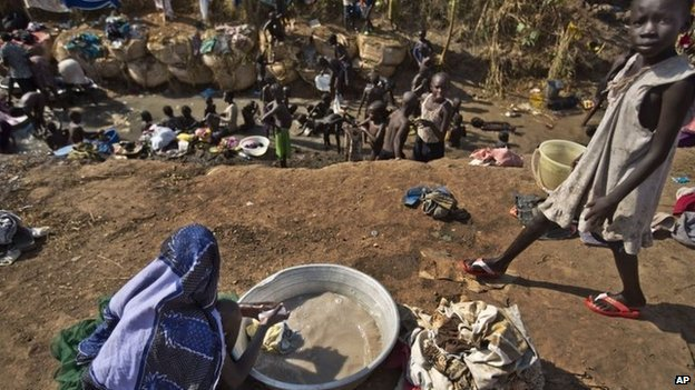 Displaced people at a UN compound in Juba, 27 December