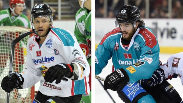 Belfast Giants captain Adam Keefe and Kevin Westgarth