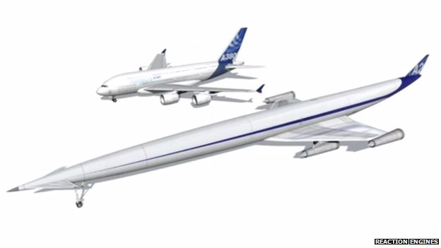 Reaction Engines' Lapcat 2 jet next to an Airbus A380