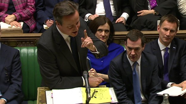 David Cameron at the despatch box at Prime Minister's Questions