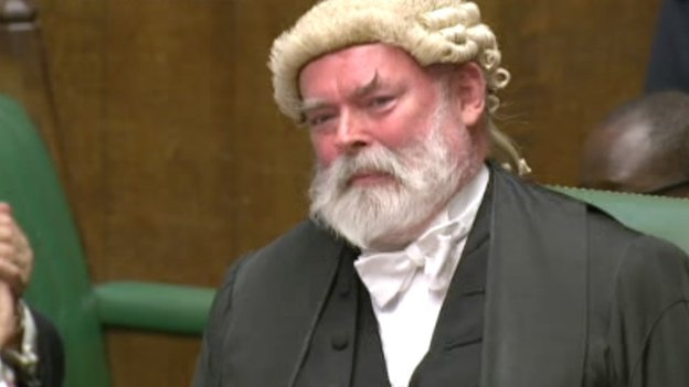 Retiring Commons clerk Robert Rogers listens to MPs' applause