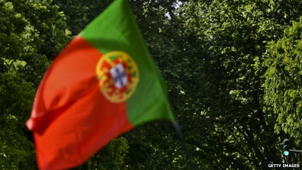 Portuguese flag at anniversary rally 40 years after the Carnation Revolution, on 25 April 2014