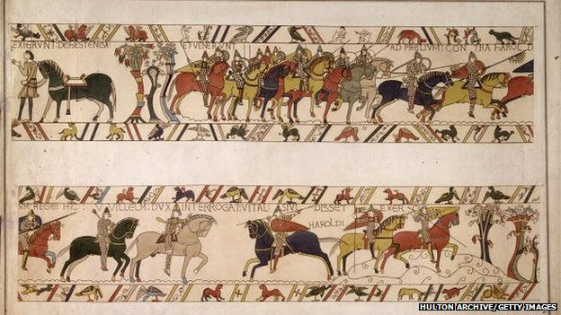 Mounted soldiers armed with spears and bows and arrows during the Norman conquest of England, as depicted in the Bayeux tapestry