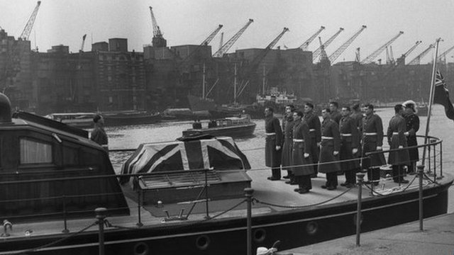 Winston Churchill's coffin on a boat - the Havengore - on the Thames on the day of his funeral