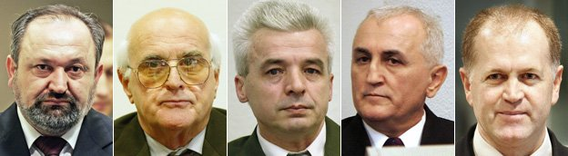 From L-R: V Popovic, L Beara, D Nikolic, R Miletic, V Pandurovic - images courtesy AFP and Getty Images