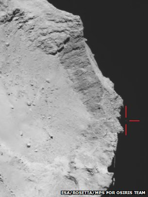 Philae moving over the rim